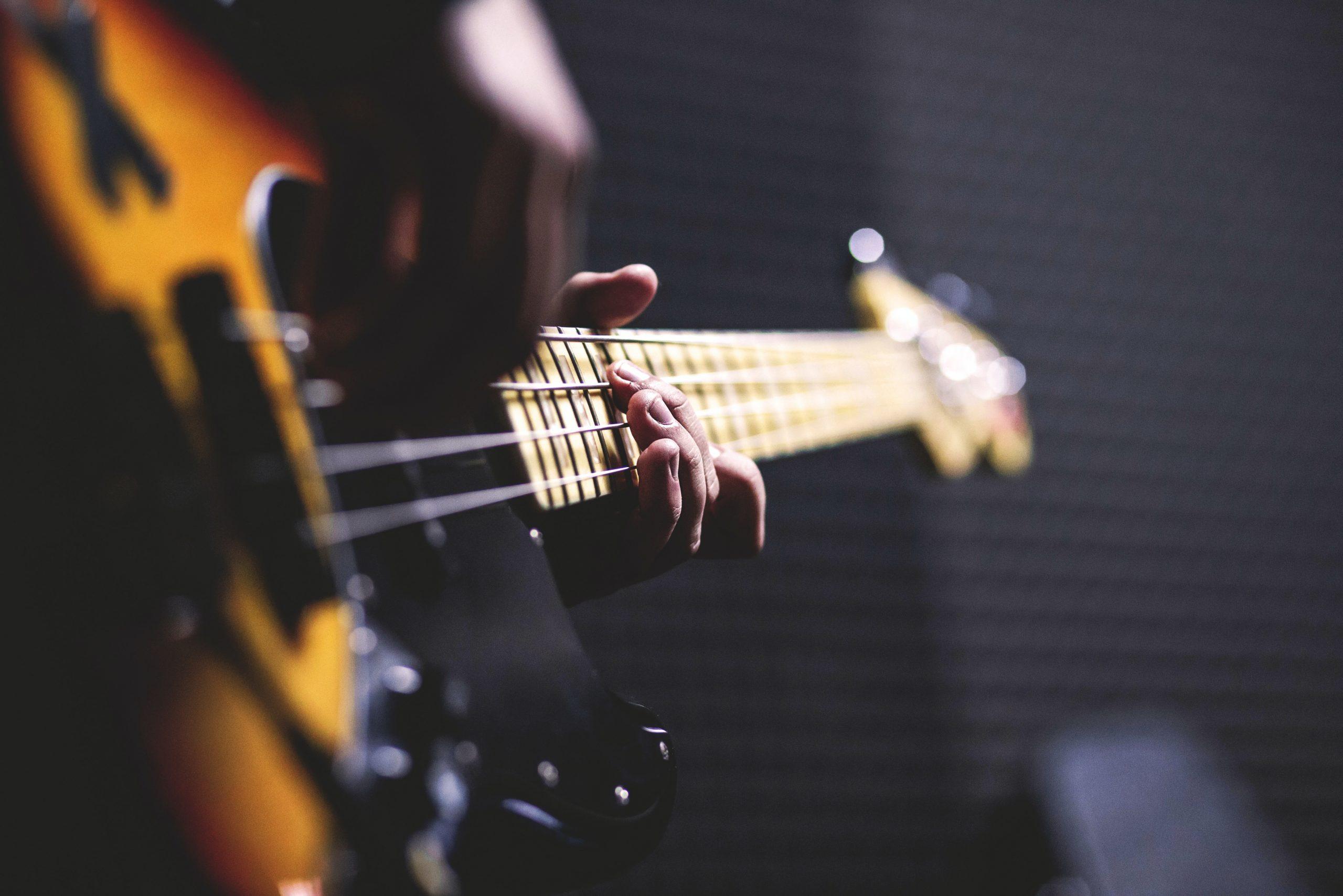 Blurry bass guitar